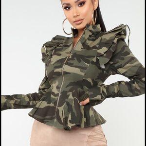 Jackets & Blazers - NEW w/ tags camouflage peplum jacket - size small
